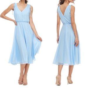 Gal Meets Glam hillary clip dot midi dress blue